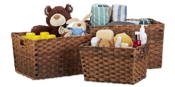 Set de 3 cestas de almacenaje Relaxdays barato en Amazon