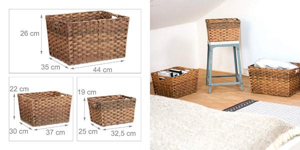 Set de 3 cestas de almacenaje Relaxdays chollo en Amazon
