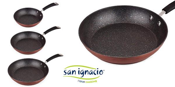 Set de sartenes San Ignacio PK1681 (20, 24, 28cm), aluminio forjado, inducción + cuchillos de cocina chollazo en Amazon