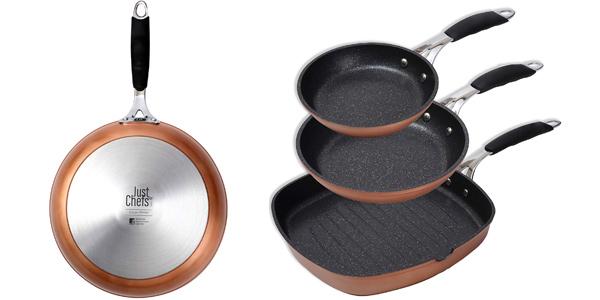 Set de 3 sartenes Bergner Just for Chefs PK1627 de aluminio forjado barato en Amazon