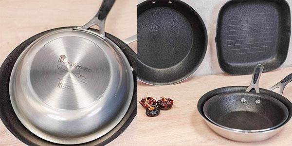 Set MasterPRO Gravity de 3 sartenes (20,24 y 28 cm) + grill de 28 cm barato
