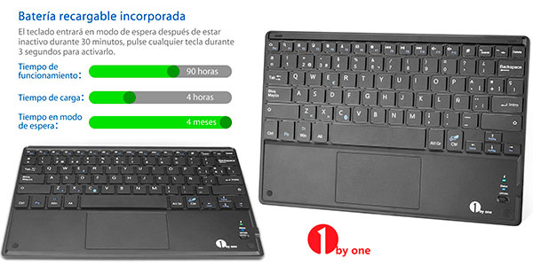 Teclado Bluetooth ultrafino 1 BY ONE con batería recargable baratos
