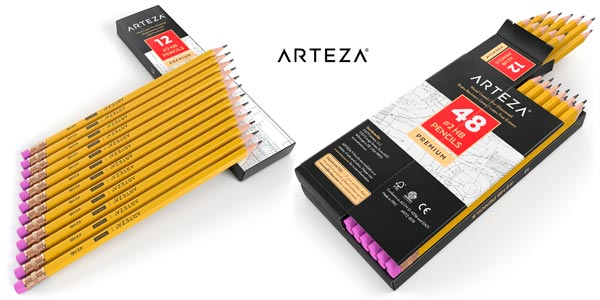 Pack 48 lápices Arteza con goma de borrar a buen precio en Amazon