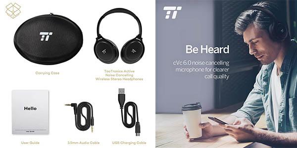 auriculares de diadema TaoTronics con reducción de ruido exterior y cupón descuento en Amazon