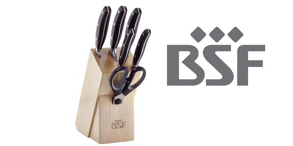 Bloque de 5 cuchillos forjados BSF con tijera multiusos barato en Amazon