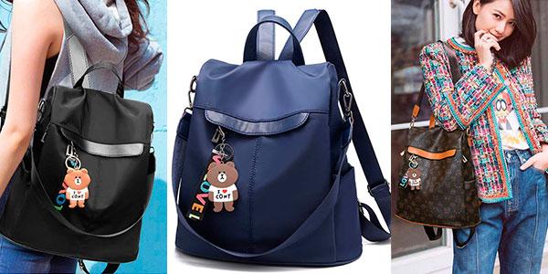 Bolso mochila antirrobo de nylon en varios modelos para mujer barato