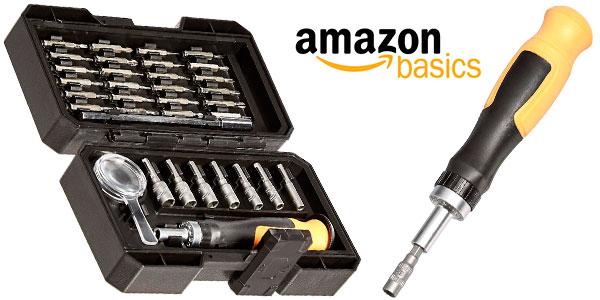 Chollo Juego AmazonBasics de minillave de trinquete y puntas de 34 piezas