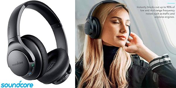Chollo Auriculares Bluetooth Soundcore Life Q20 con cancelación de ruido activa y 30 horas de batería