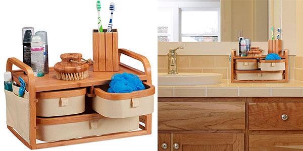 Chollo Cómoda de baño rústica Relaxdays de bambú