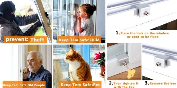 Pack x3 Cerraduras de seguridad ajustables para ventana o puerta corredera chollo en Amazon