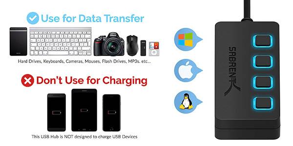 concentrador para USB transferencia de datos Sabrent chollo