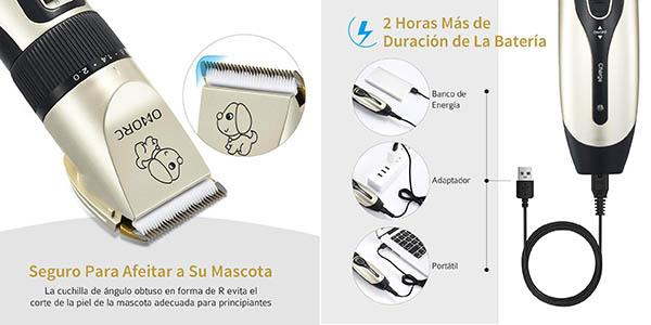 cortapelos recargable Omorc para perros kit con accesorios chollo