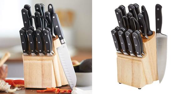 Juego de 18 piezas de Cuchillos de cocina con soporte AmazonBasics Premium barato en Amazon