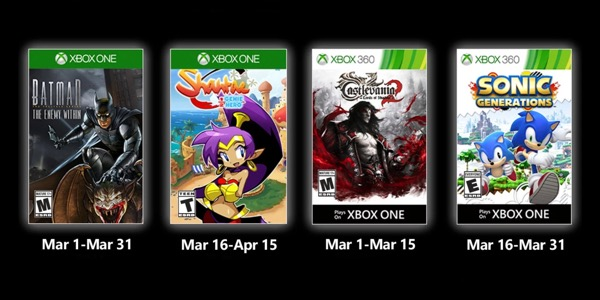 Juegos GRATIS con Gold marzo de 2020 para Xbox One