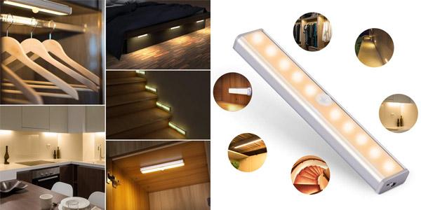 Luz LED de armario Ousfot con sensor de movimiento barata en Amazon