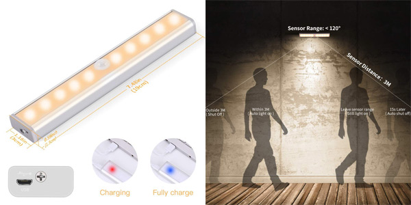 Luz LED de armario Ousfot con sensor de movimiento chollo en Amazon
