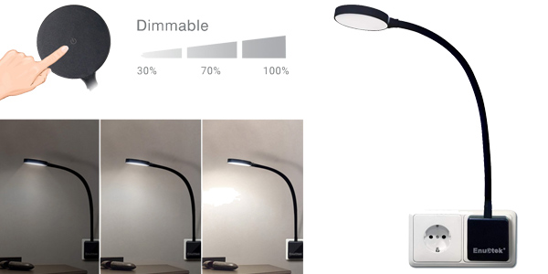Lámpara de Noche LED Enuotek Regulable y Flexible con Enchufe e Interruptor Táctil barata en Amazon