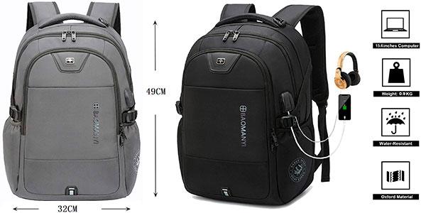 """Mochila Baomanyi de 43 litros para portátil de 17,3"""" con puerto de carga USB barata"""