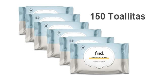 Pack x150 toallitas desmaquilladoras Find con aceite micelar barato en Amazon