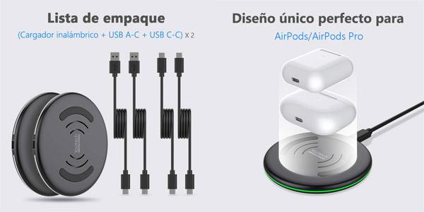 Pack x2 cargadores inalámbricos Yootech ES-W051021 carga rápida QC chollazo en Amazon