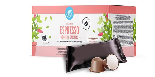 Pack x30 cápsulas Amazon Happy Belly Espresso compatibles con Nespresso barato en Amazon