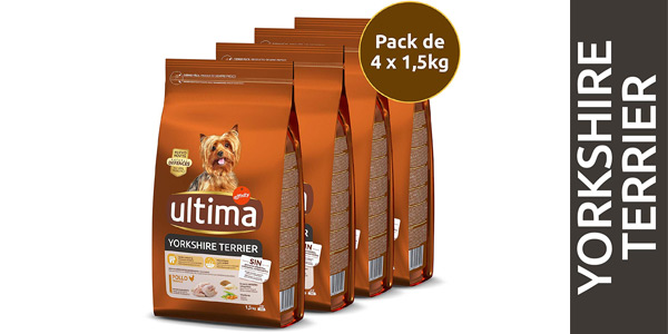 Pack x4 Pienso para perros Ultima Mini Yorkshire con Pollo de 1,5 kg (total 6 kg) barato en Amazon