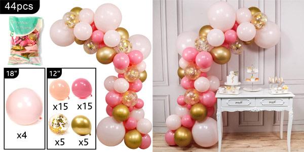 Pack x44 Globos PartyWoo en color rosa y dorado baratos en Amazon
