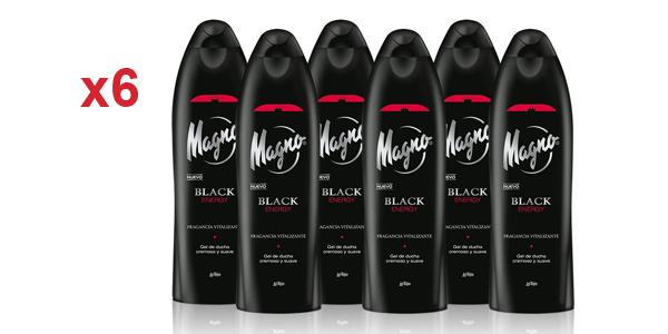 Pack x6 Gel de ducha Magno Black Energy de 550 ml/ud barato en Amazon