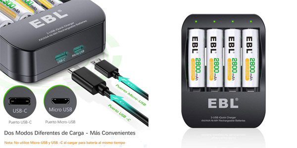 Cargador de pilas EBL iQuick + 4 pilas recargables AA de 2800 mAh barato en Amazon
