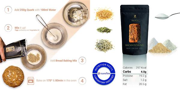 Pack Mezcla x10 Panes sin cereales Nutringo para hornear pan de proteínas chollo en Amazon