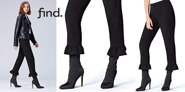 Pantalones Cropp Amazon find. con volante en el bajo baratos en Amazon