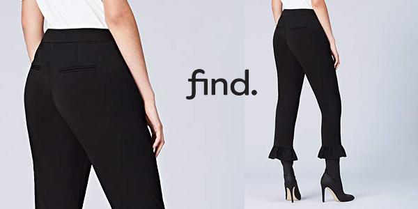 Pantalones Cropp Amazon find. con volante en el bajo chollo en Amazon