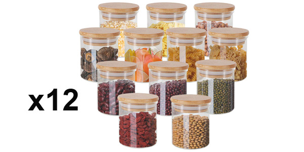 Set x12 tarros GoMaihe de vidrio de 150 ml/ud barato en Amazon