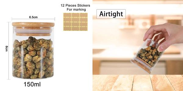Set x12 tarros GoMaihe de vidrio de 150 ml/ud chollo en Amazon