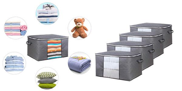 Set x4 Cajas bolsa de almacenaje de ropa GoMaihe barato en Amazon