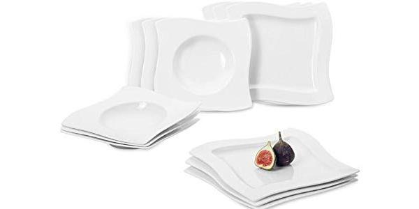 Set de vajilla de 12 piezas de Porcelana Premium Villeroy & Boch NewWave barata en Amazon