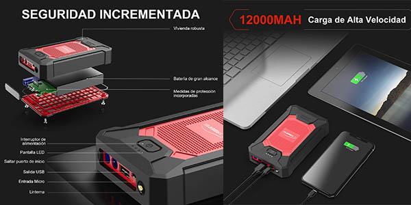 Yaber arrancador de batería de coche 12000mAh oferta