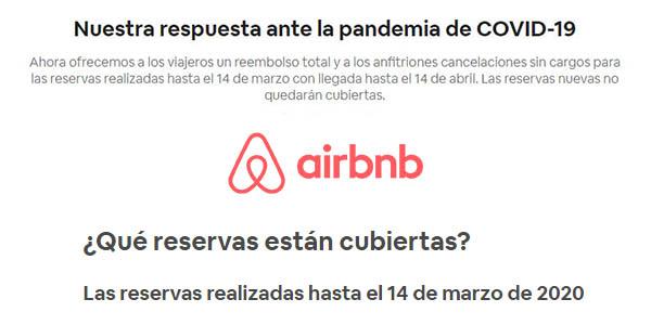 airbnb política cancelación coronavirus
