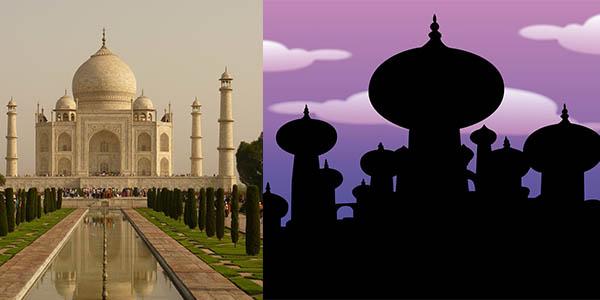 Aladdin Disney Taj Mahal inspiración