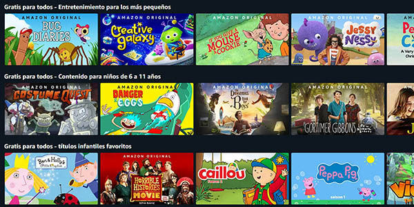 Amazon Prime Video películas y series infantiles gratis para todos los usuarios