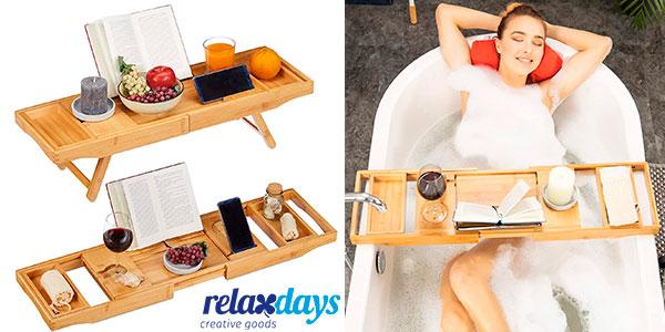 Bandeja extensible 2 en 1 Relaxdays para cama y bañera en oferta