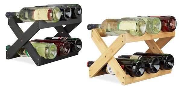 Botellero plegable de bambú Relaxdays para 6 botellas de vino barato en Amazon