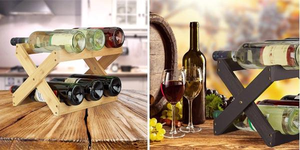Botellero plegable de bambú Relaxdays para 6 botellas de vino chollo en Amazon