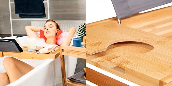 Chollo Bandeja extensible 2 en 1 Relaxdays para cama y bañera