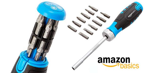 Chollo Destornillador de carraca magnético 12 en 1 AmazonBasics