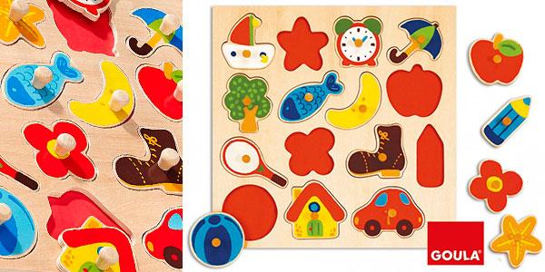 Chollo Puzle infantil Goula de 15 piezas de madera