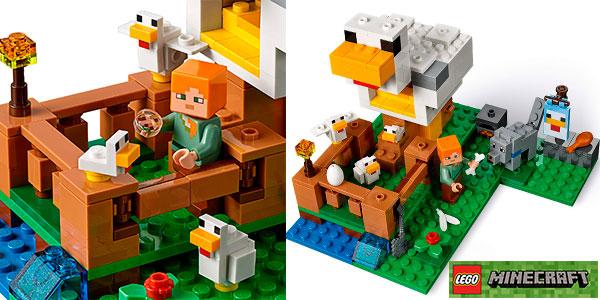 Chollo Set Gallinero de LEGO Minecraft con una minifigura