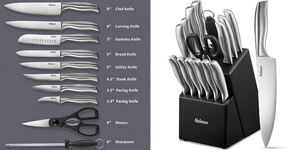 Chollo Set Yabano de cuchillos de cocina de acero alemán de 16 piezas