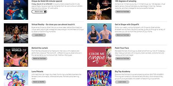 Cirque du Soleil espectáculos y vídeos gratis en YouTube