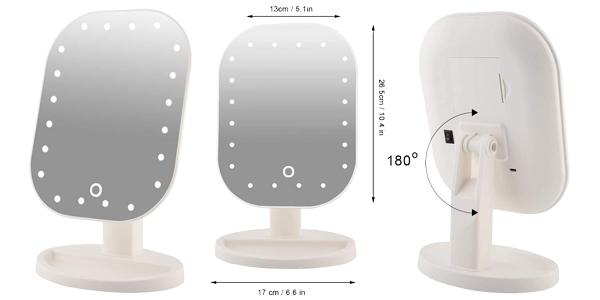 Espejo de aumento de 10x con 20 luces LED barato en Amazon